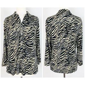 Alfani Size M Blouse Abstract Zebra Animal Print